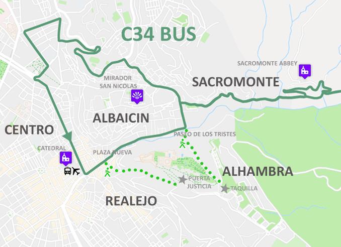 Granada Karte.Nützliche Busse In Granada Spanien C1 C2 C3 C4